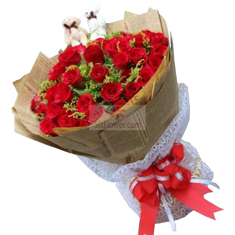 32朵红玫瑰,一心一意爱你
