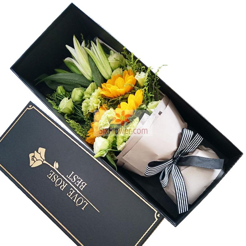 向日葵百合礼盒,生活幸福美满