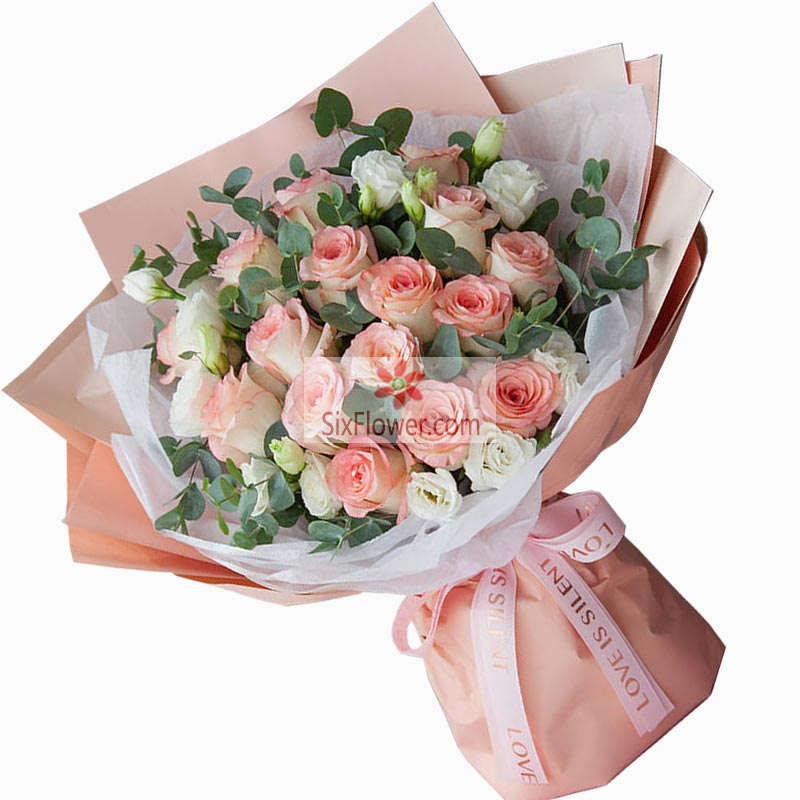 19朵粉玫瑰,与你相伴在一起