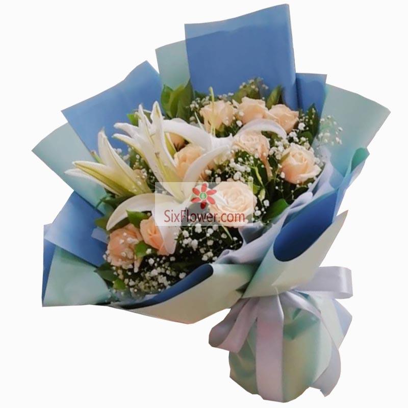 11朵香槟玫瑰,2支白色多头百合,深深地爱上了你
