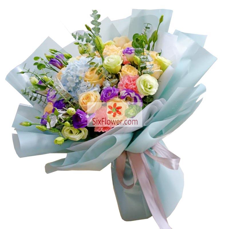 11朵香槟玫瑰+桔梗康乃馨,真挚的祝福