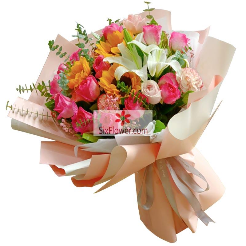 12朵苏醒玫瑰,4朵粉色佳人向日葵,真挚的祝福