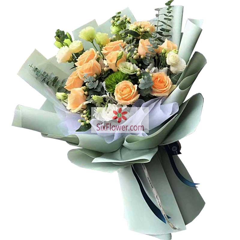 11朵香槟玫瑰,11朵桔梗,爱的心语