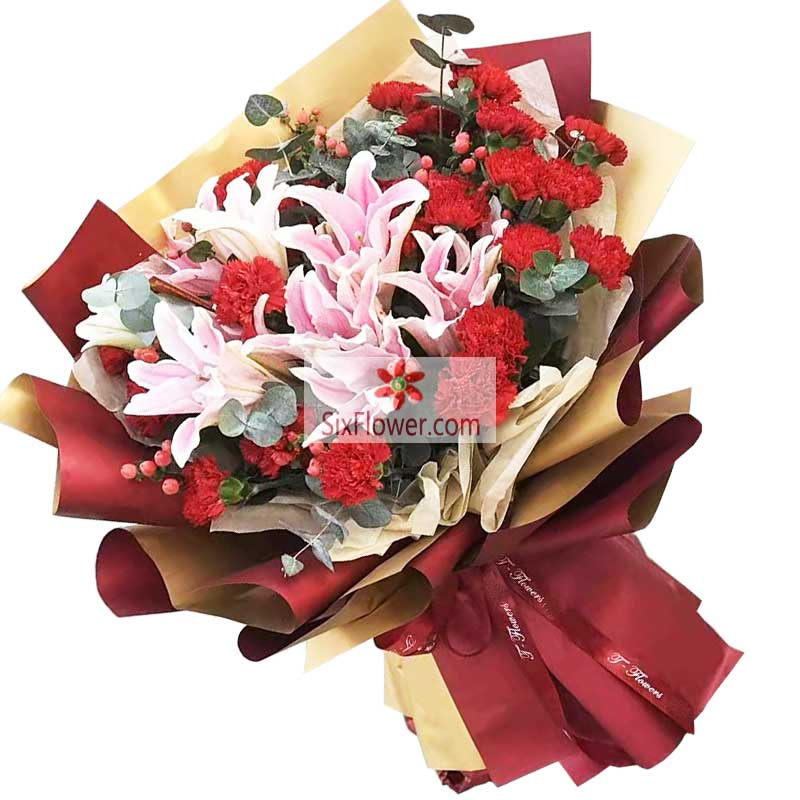 22朵红色康乃馨百合,健康幸福一生
