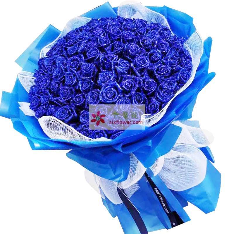 99朵蓝玫瑰,共筑美好爱情