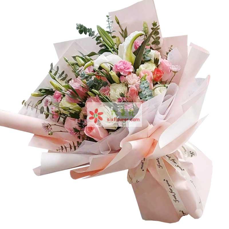 11朵戴安娜粉玫瑰桔梗,你依旧是我的爱