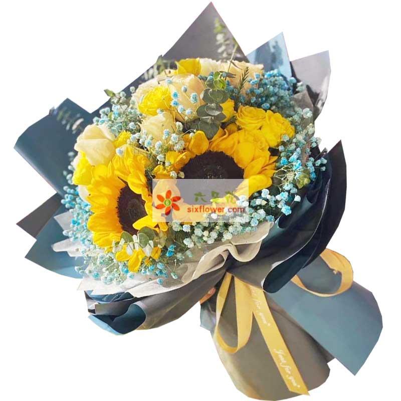 2朵向日葵,11朵玫瑰,永远祝福你