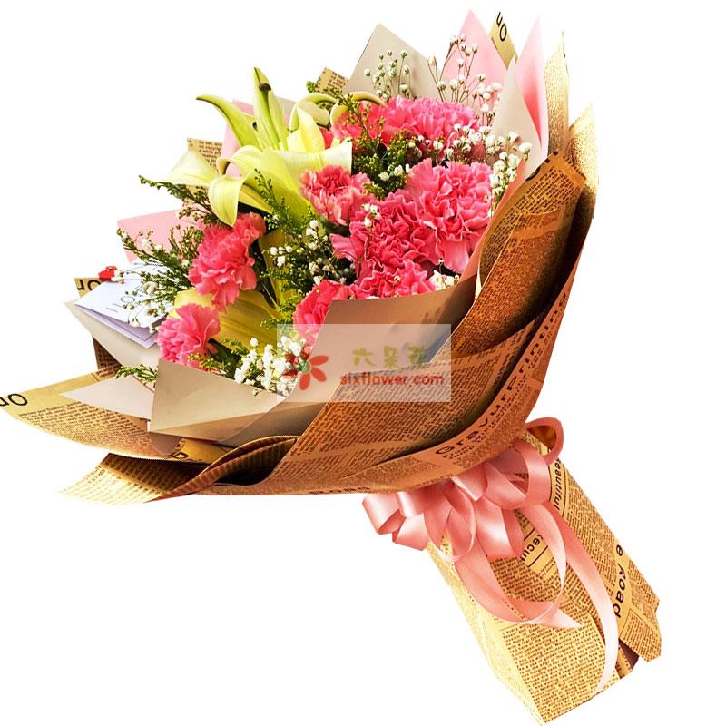 20朵粉色康乃馨,幸福甜蜜的祝福