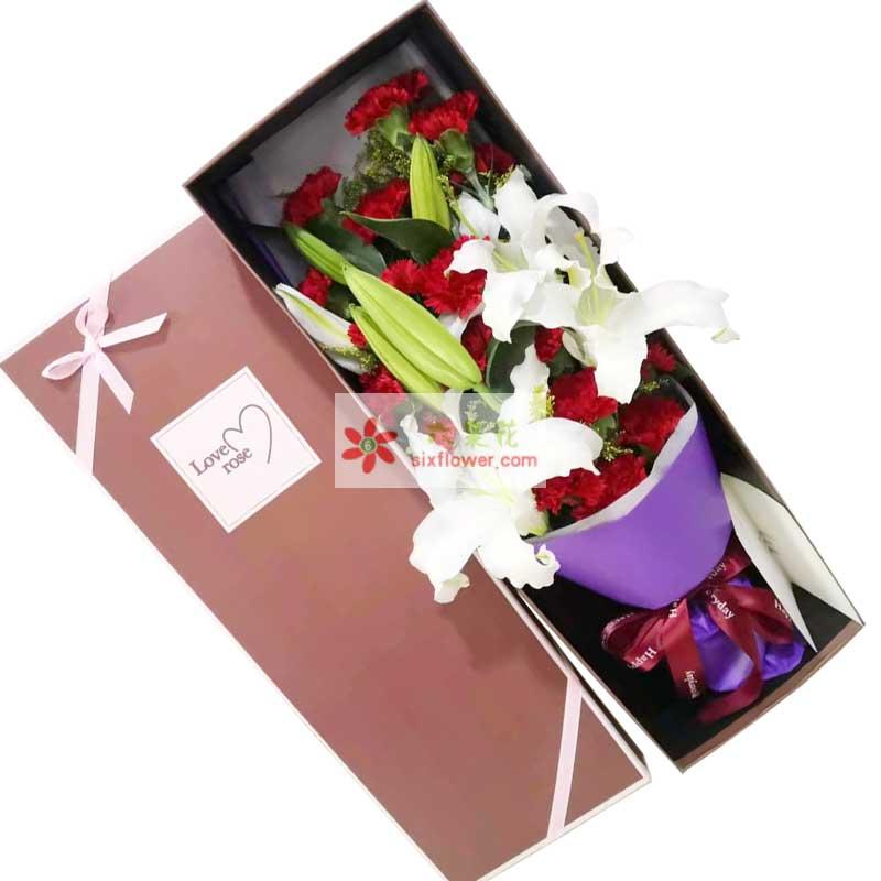 19朵红色康乃馨百合礼盒,欢天喜地心情爽