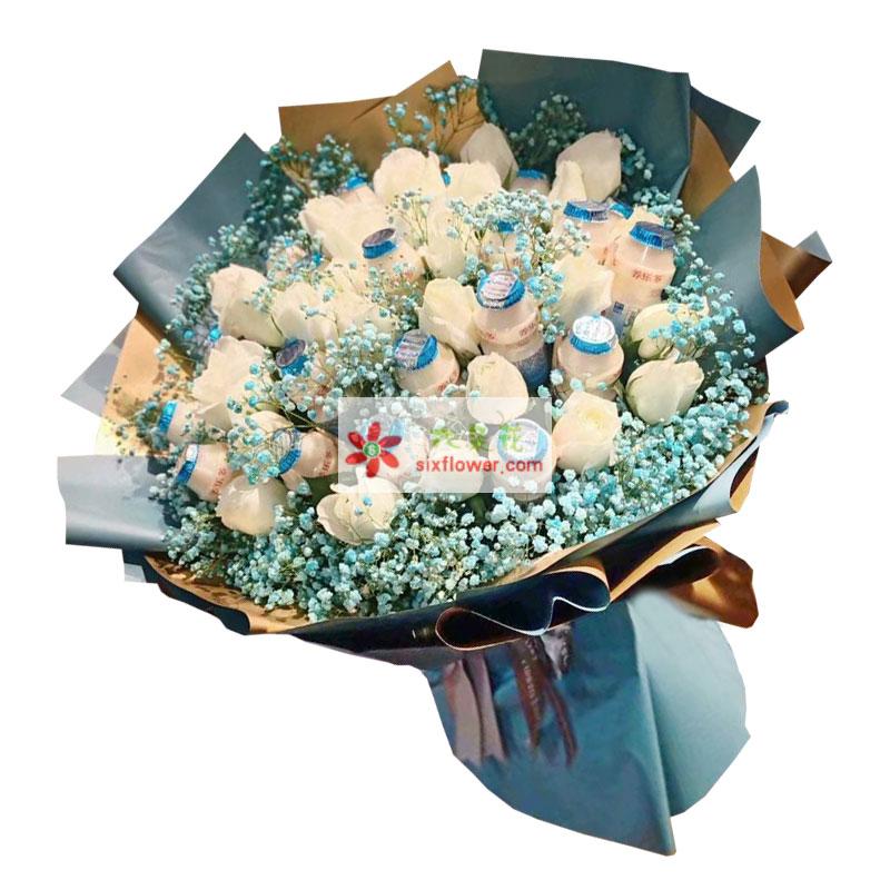19朵白玫瑰搭配饮料,将甜蜜直到永久