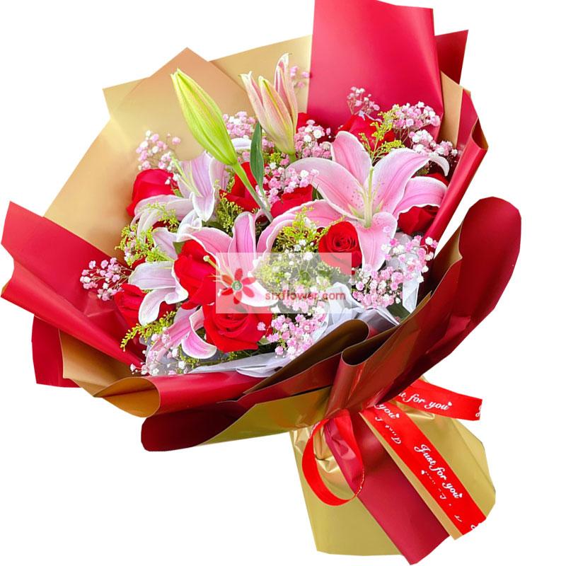 11朵红玫瑰,2支粉色多头百合,对你感情专一