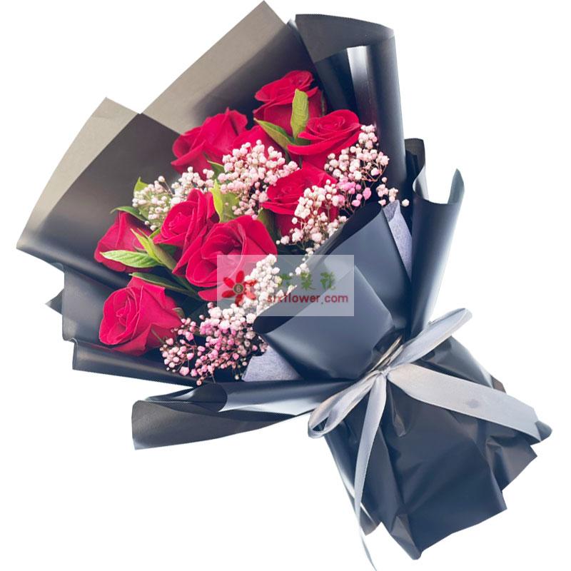 9朵红玫瑰粉色满天星,给你幸福是我一生期盼