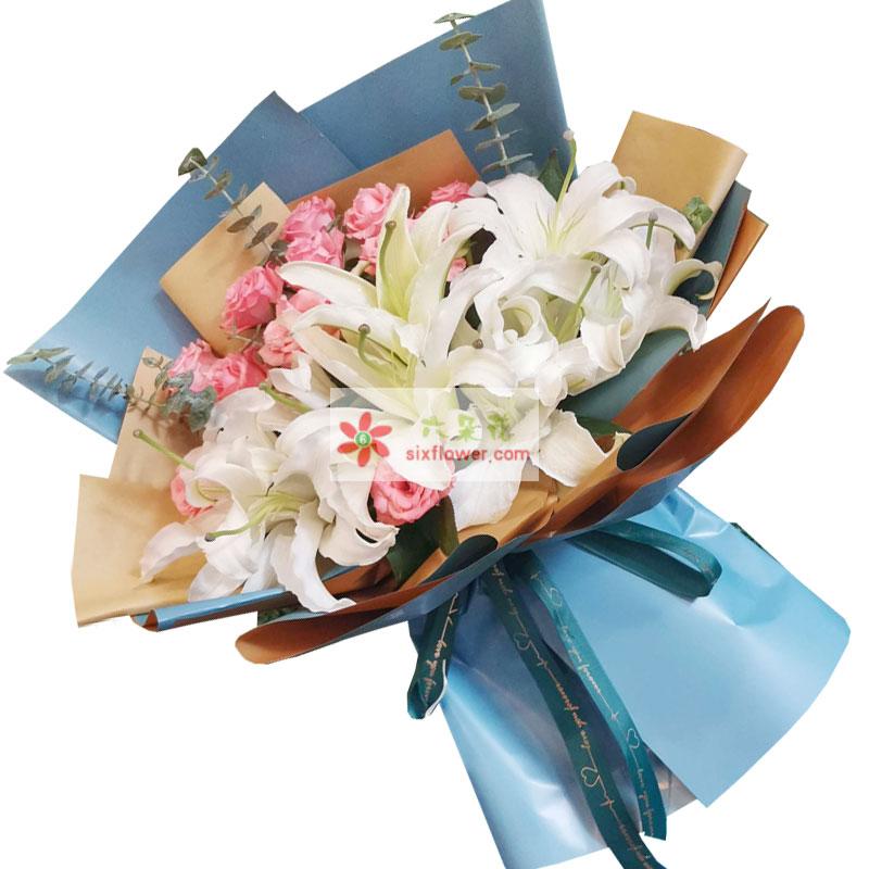 11朵粉玫瑰百合,一生快乐
