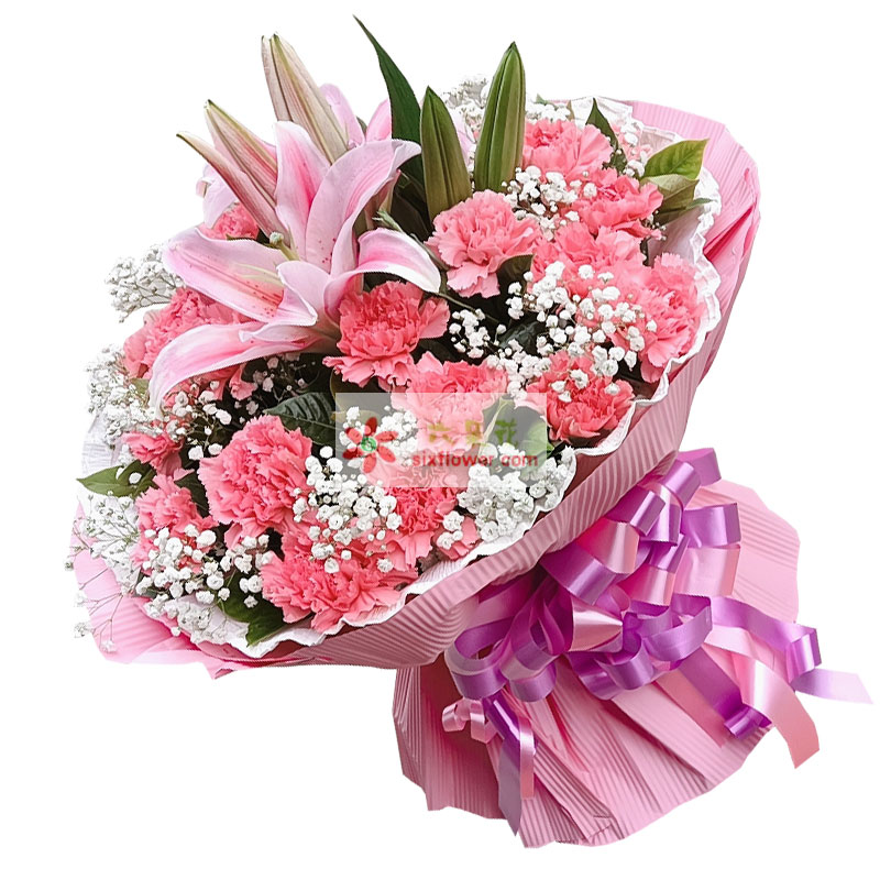 30朵粉色康乃馨百合,永远美丽