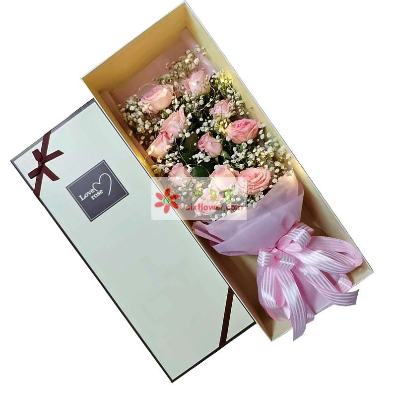 11朵戴安娜粉玫瑰礼盒,满好姻缘