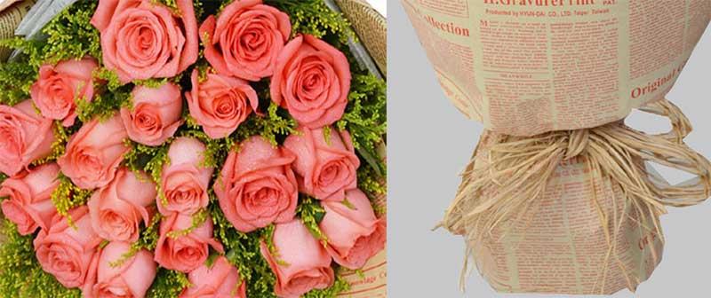 19枝顶级粉玫瑰,加拿大黄莺辅材;
