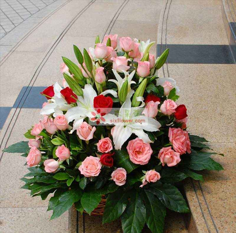 66枝粉色玫瑰,6枝多头香水百合,八角叶