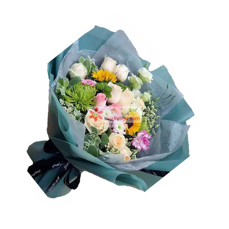 香槟玫瑰9枝,向日葵2枝