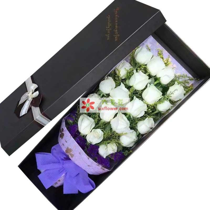 19枝白色玫瑰,黄英丰满,紫色勿忘我点缀;