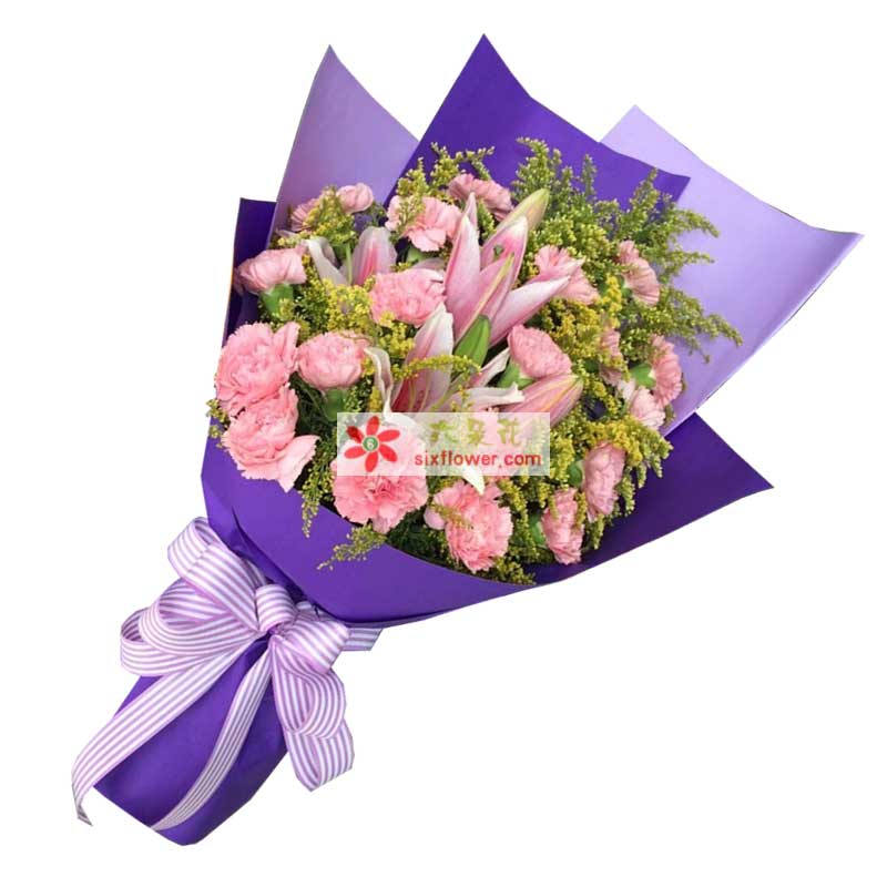 19枝粉色康乃馨,2枝多头粉色百合,黄英丰满