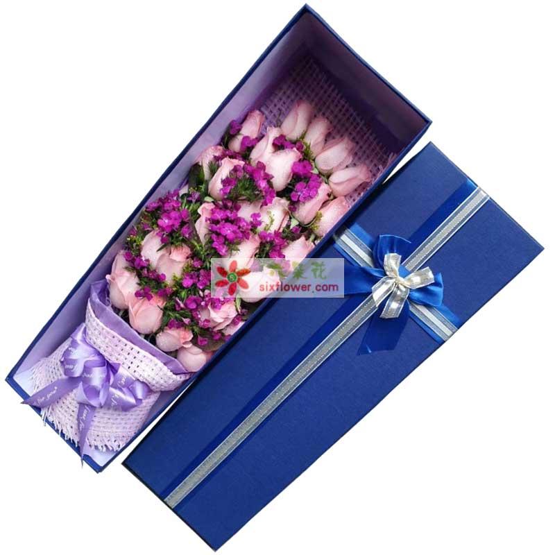 粉色玫瑰25枝,相思梅丰满;
