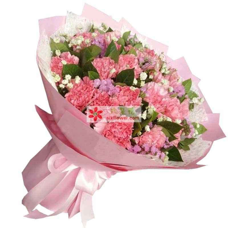 16枝粉色康乃馨,满天星、橛子叶、粉色勿忘我点缀