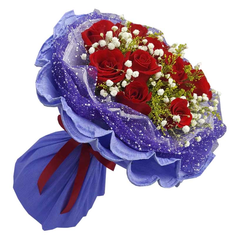 11枝红色玫瑰,满天星、黄英丰满