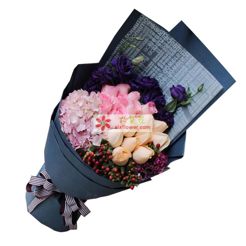 9枝香槟玫瑰,10枝戴安玫瑰,1只粉色绣球花,红豆(或相思梅)丰满