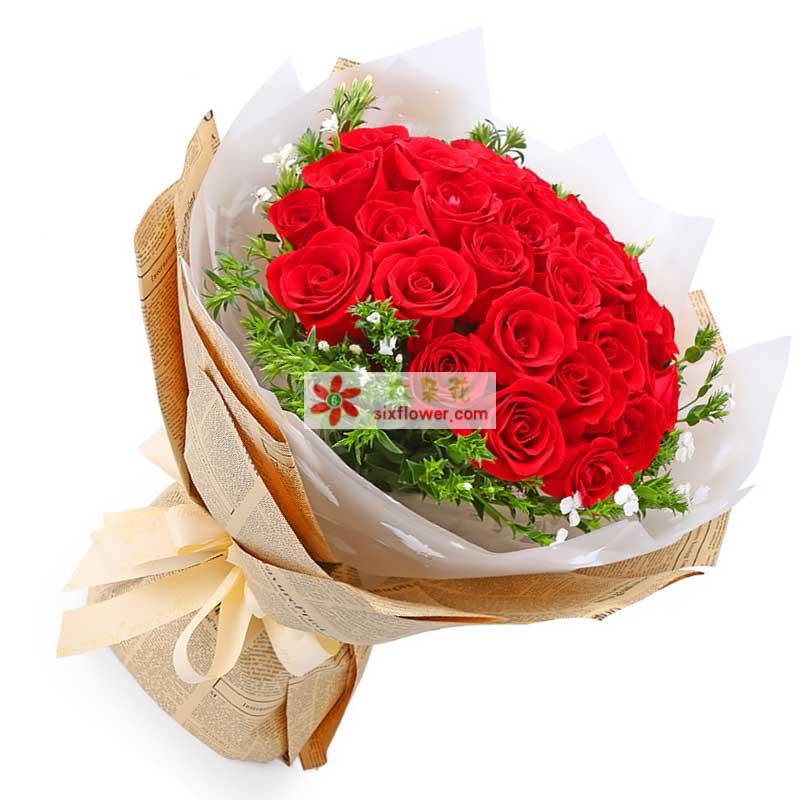 21枝红玫瑰,外围石竹梅丰满点缀