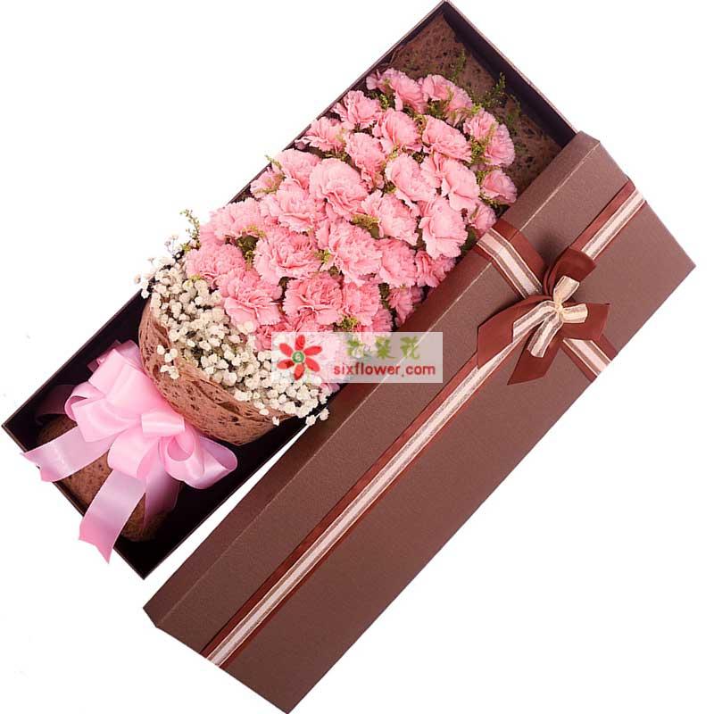 33枝粉色康乃馨,白色满天星丰满,黄莺点缀