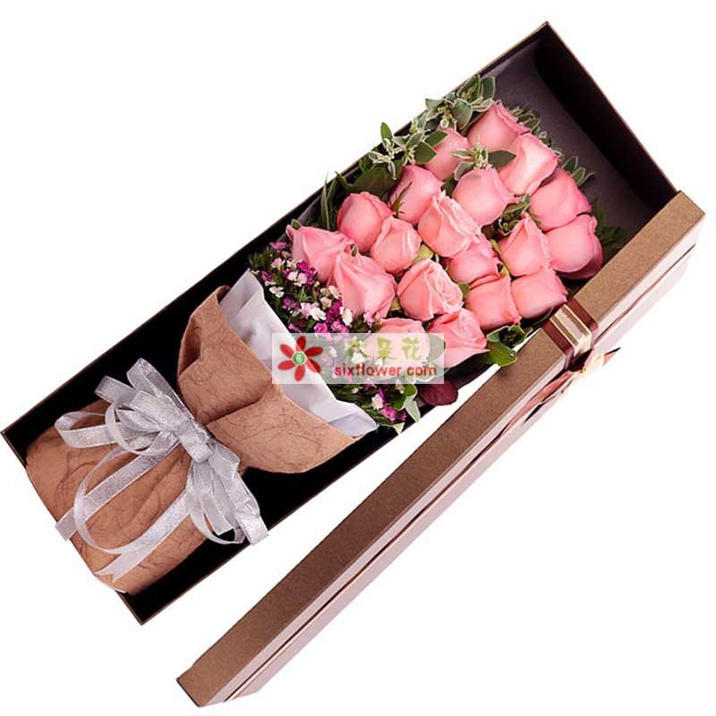 19枝戴安娜玫瑰,石竹梅丰满,栀子叶、高山积雪间插