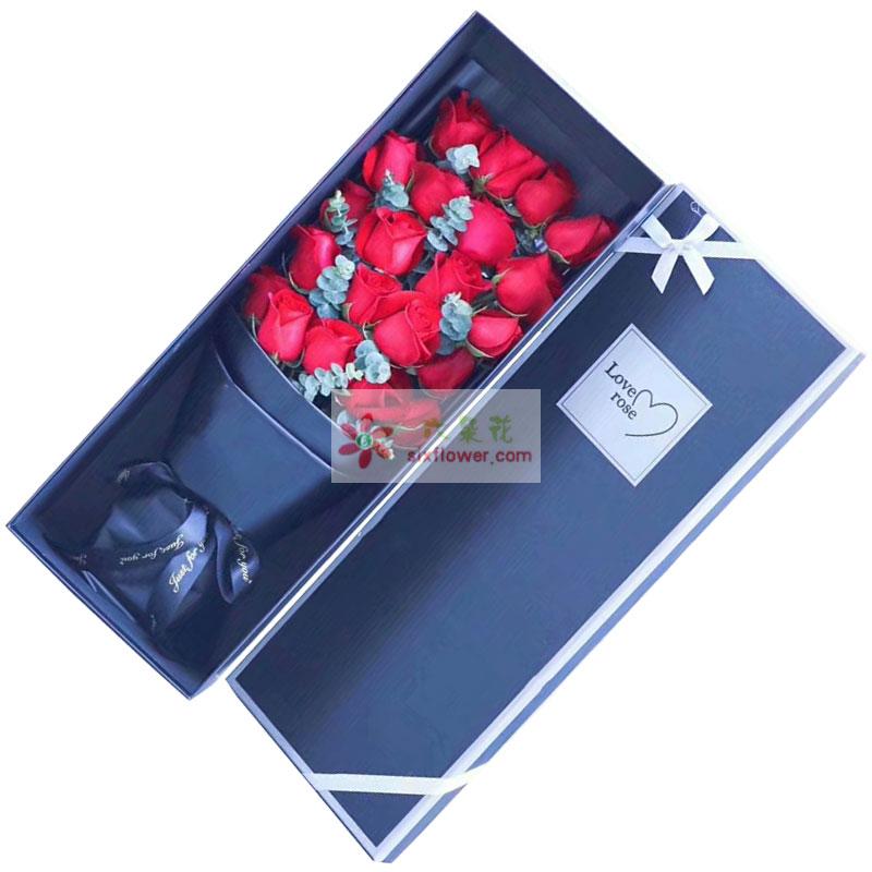 21枝红色玫瑰花,尤加利丰满;