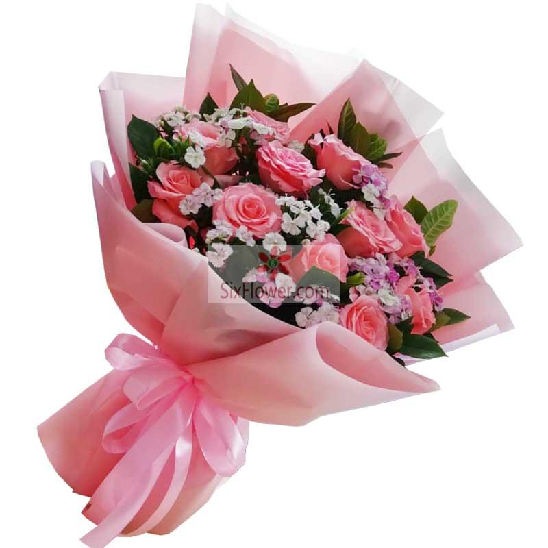 11朵粉玫瑰,相伴一生的人