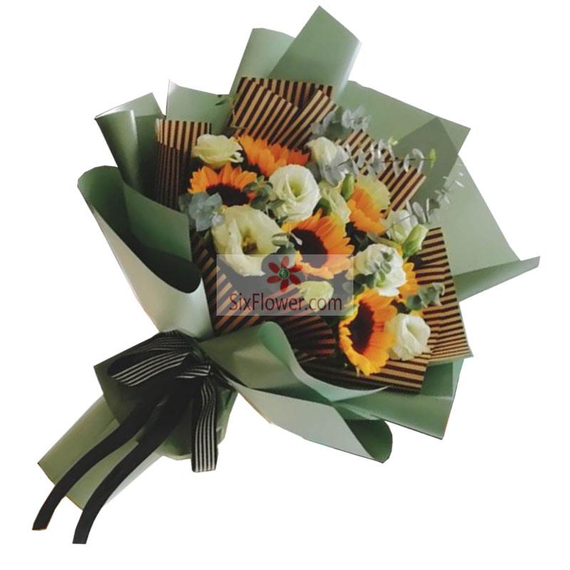 6朵向日葵,9朵桔梗,您是我生命绽放的源泉