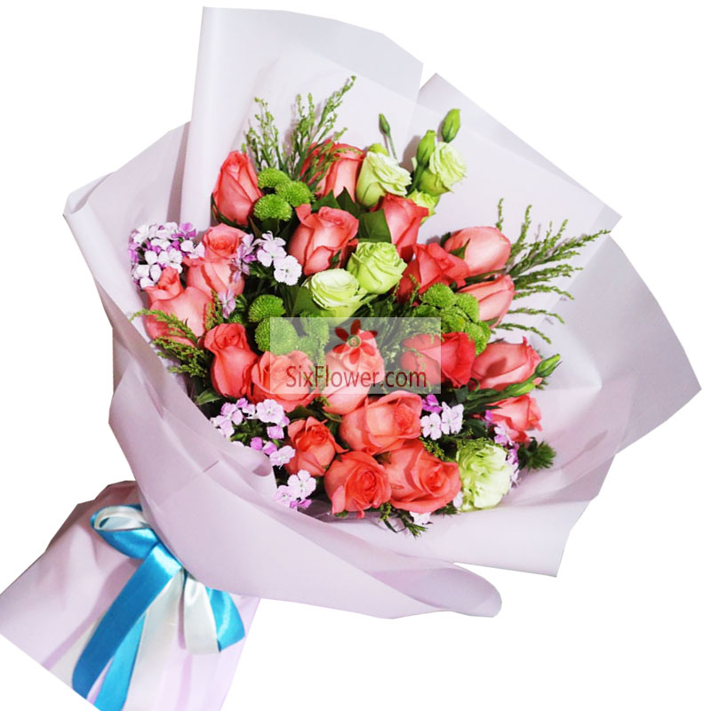 22朵粉玫瑰,6支桔梗,因我们的相爱而光辉