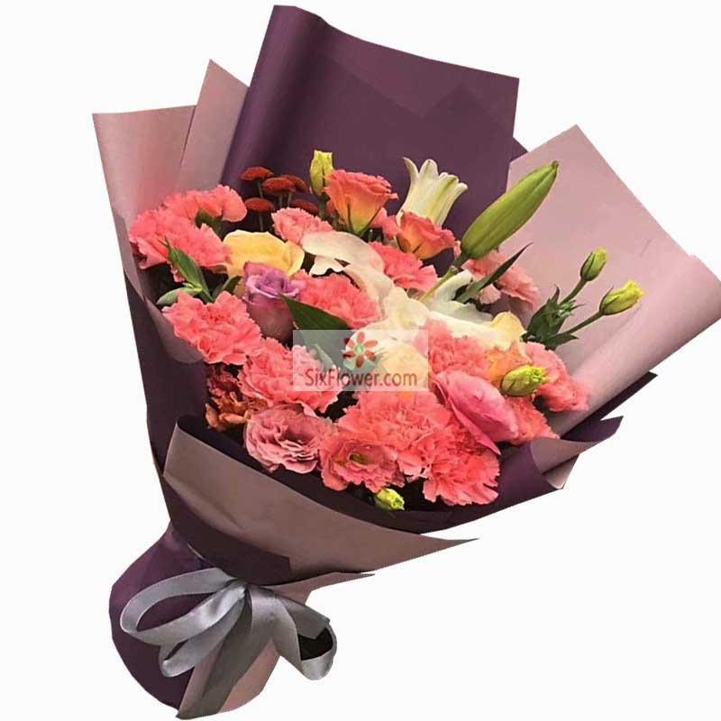 16朵粉色康乃馨玫瑰,快乐欢笑