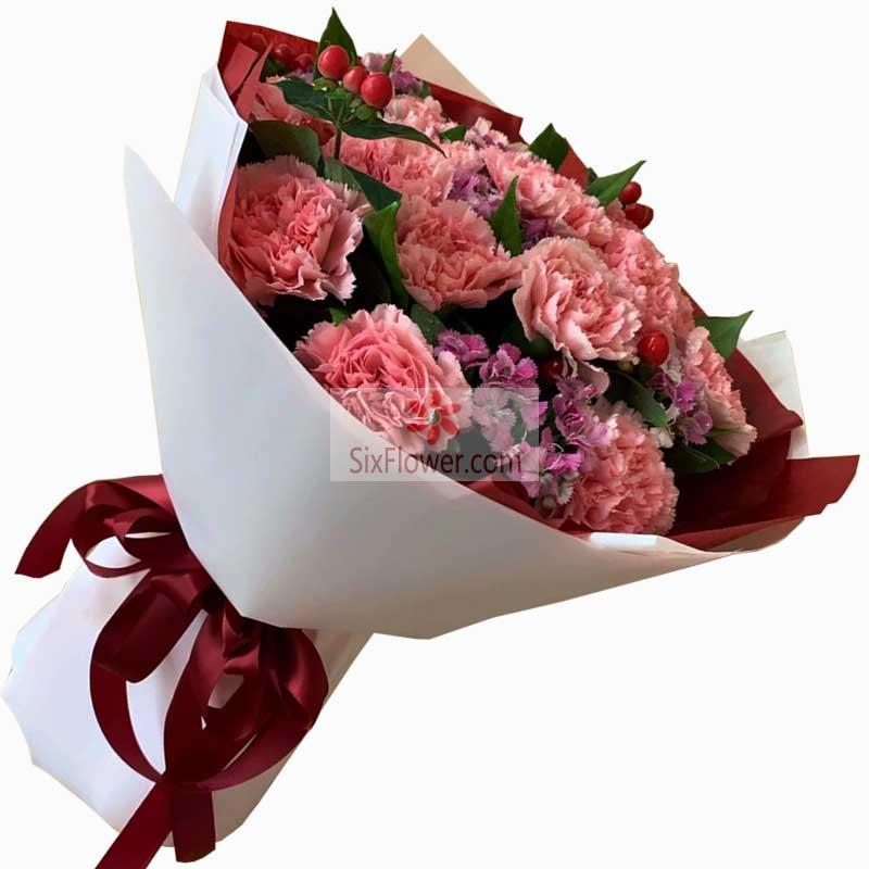11朵粉色康乃馨,送给牵挂的你