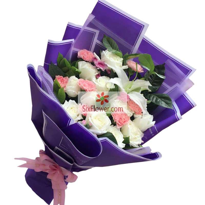 11朵白玫瑰康乃馨,爱情甜甜蜜蜜