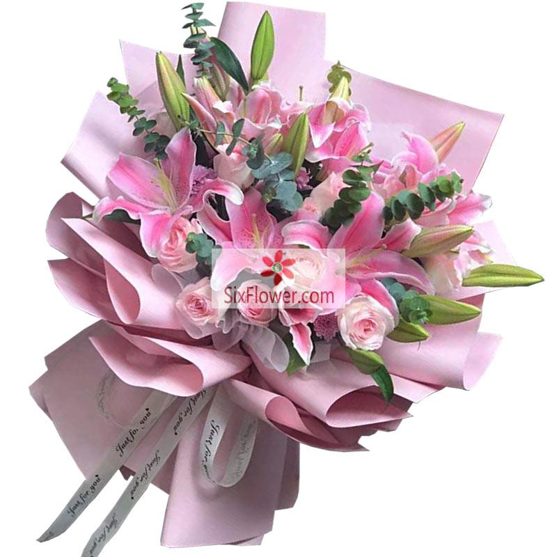11朵戴安娜粉玫瑰,6支粉色多头百合,情深似海永不断