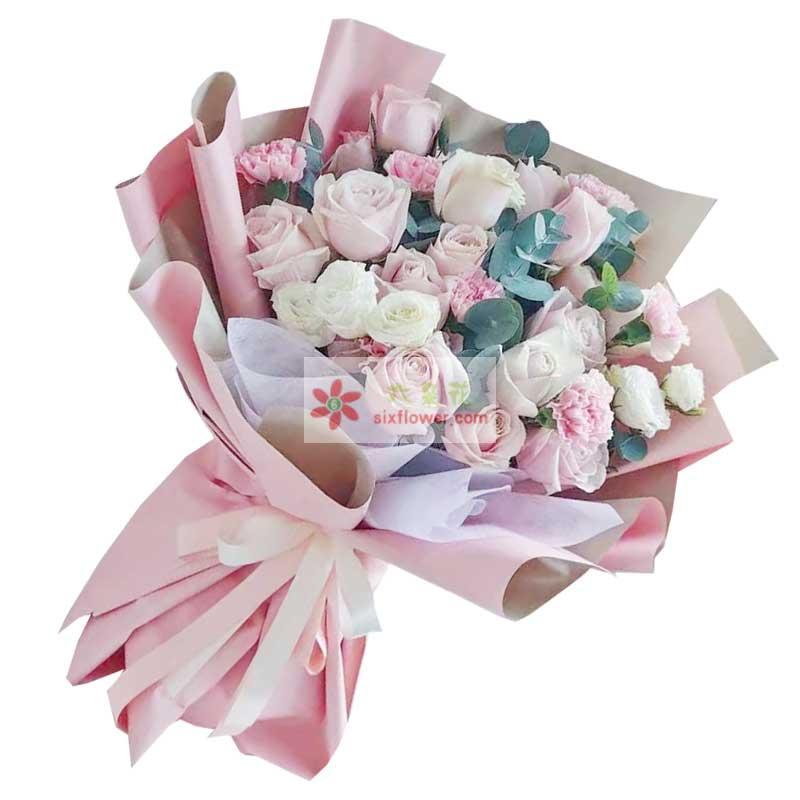 12朵戴安娜粉玫瑰,幸福都陪伴着你
