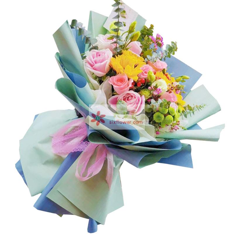 11朵戴安娜粉玫瑰,3朵向日葵,愿你前程无量