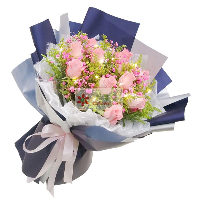 12朵戴安娜粉玫瑰,深深爱你永不悔