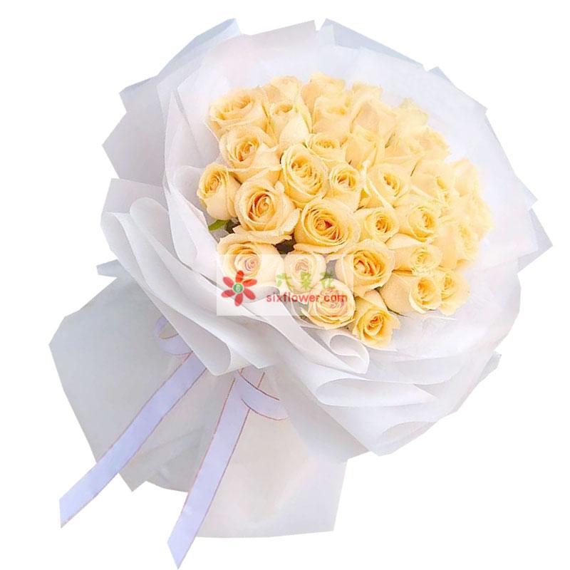 33朵香槟玫瑰,温馨的情人节