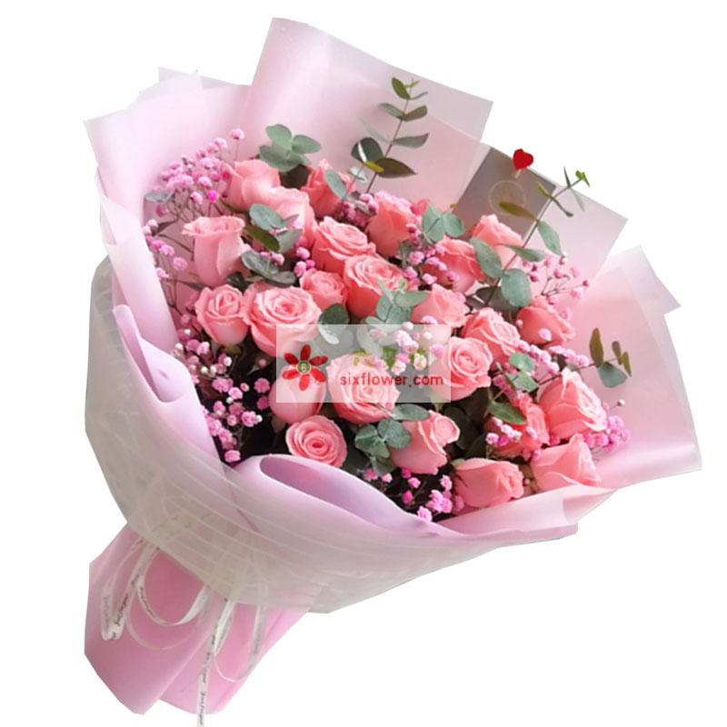 33朵戴安娜粉玫瑰,美丽多姿