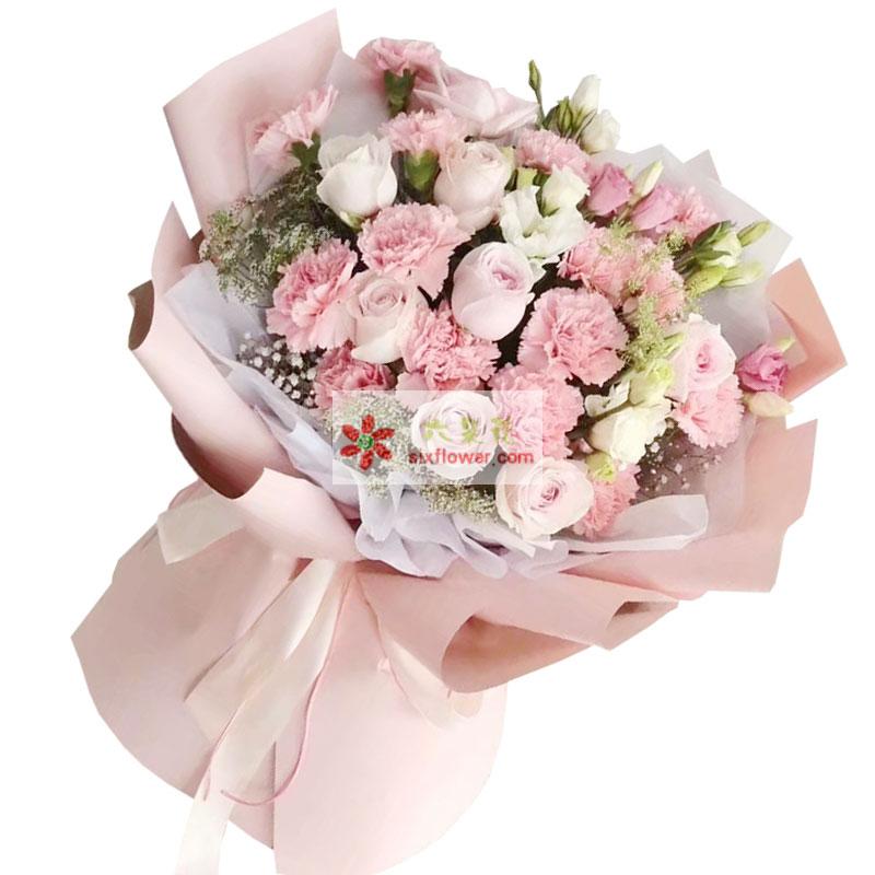 19朵粉色康乃馨玫瑰,真诚的感恩