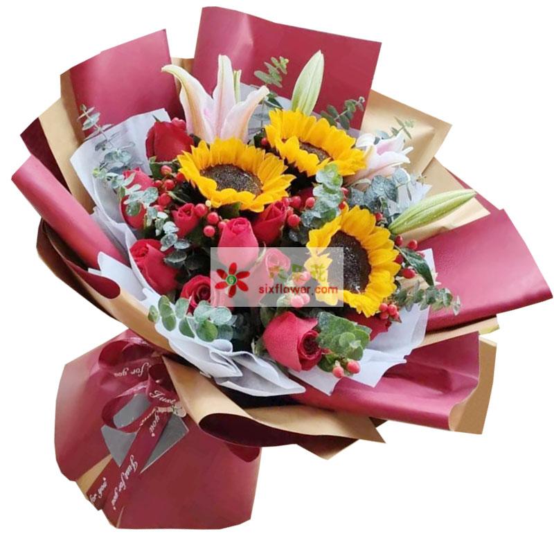 3朵向日葵,9朵红玫瑰,美好的明天