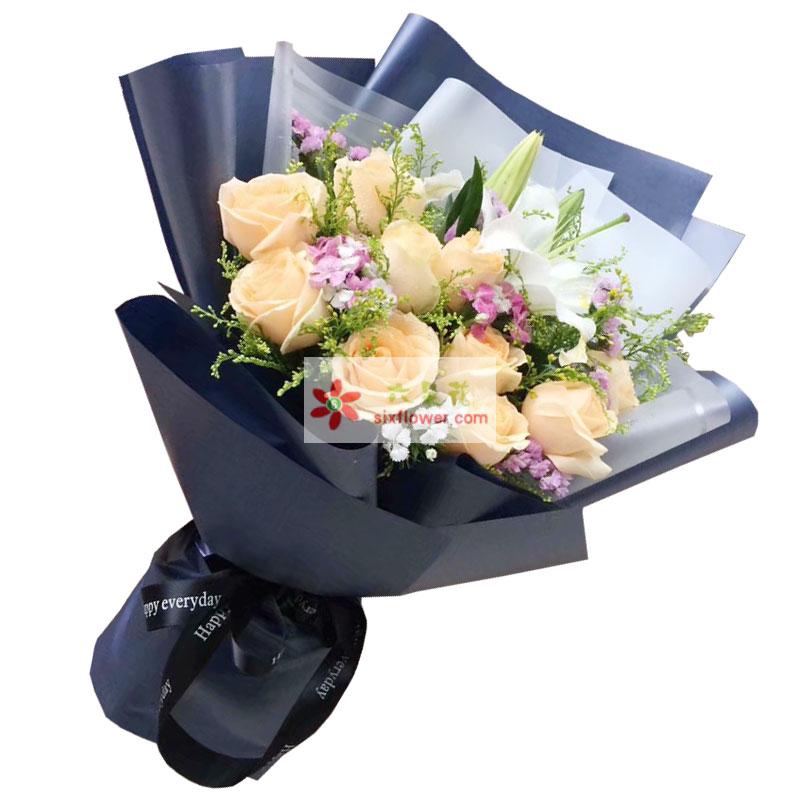 11朵香槟玫瑰百合,沐浴幸福爱河