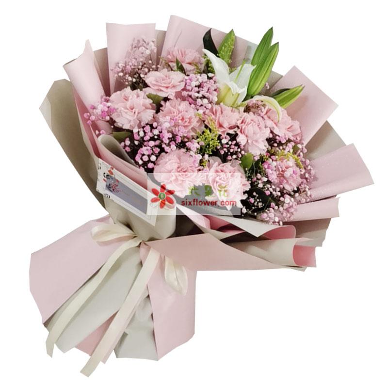 12朵粉色康乃馨百合,送你满满福