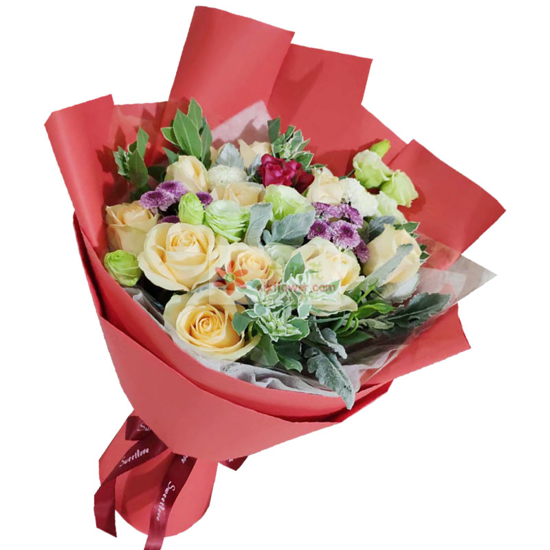 11朵香槟玫瑰,6朵桔梗,爱你是幸福快乐的