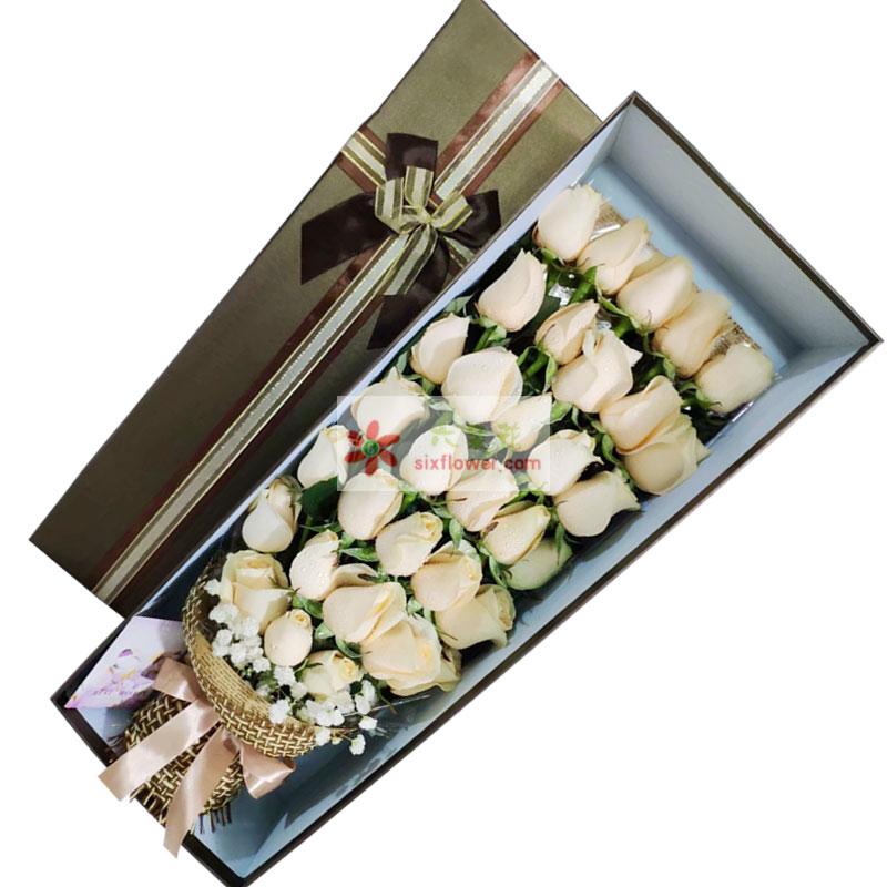 33朵香槟玫瑰礼盒,你就是我的人生航向